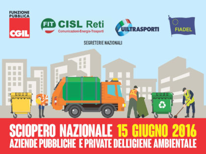 Sciopero igiene ambientale: mercoledì 15 giugno possibili disservizi