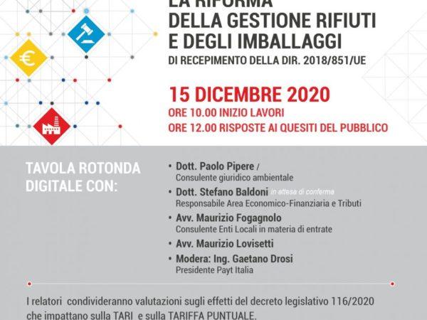 15 Dicembre Tavola Rotonda Payt Italia
